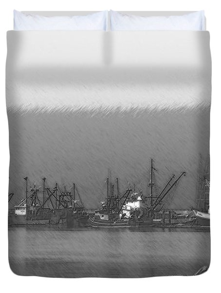 Boats In Harbor Charcoal Duvet Cover by Chalet Roome-Rigdon