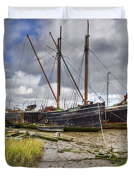 Boats On The Hard At Pin Mill Duvet Cover by Gary Eason