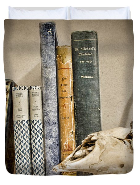 Bone Collector Library Duvet Cover by Heather Applegate