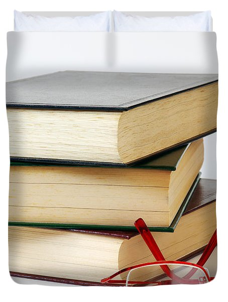 Books And Glasses Duvet Cover by Carlos Caetano