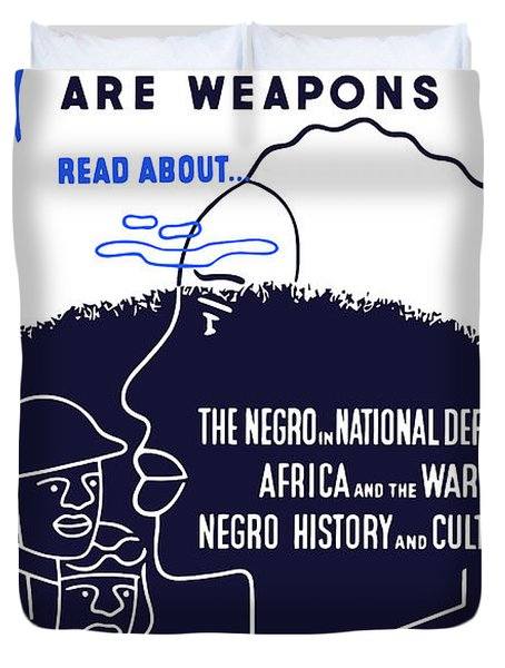 Books Are Weapons Duvet Cover by War Is Hell Store