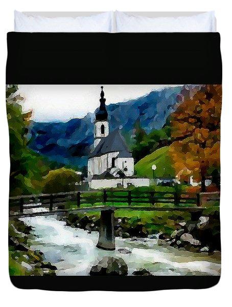 Bosnian Country Church Duvet Cover by Jann Paxton