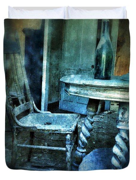 Bottle On Table In Abandoned House Duvet Cover by Jill Battaglia