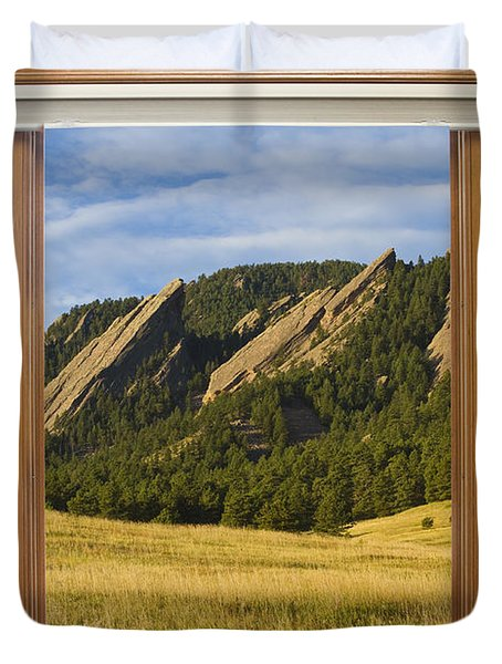 Boulder Colorado Flatirons Window Scenic View Duvet Cover by James BO  Insogna
