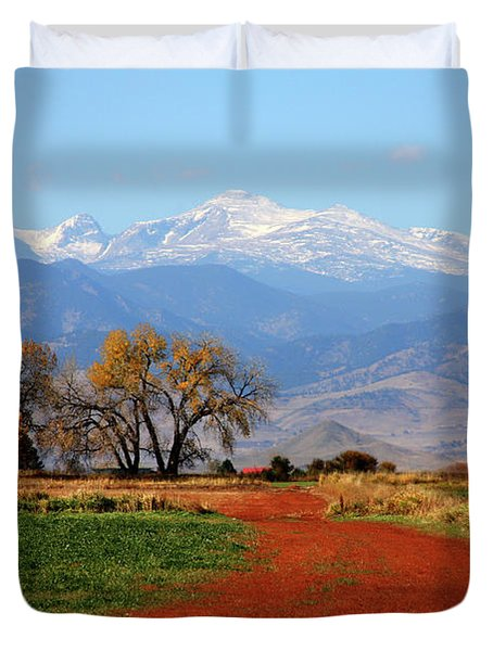 Boulder County Colorado Landscape Red Road Autumn View Duvet Cover by James BO  Insogna