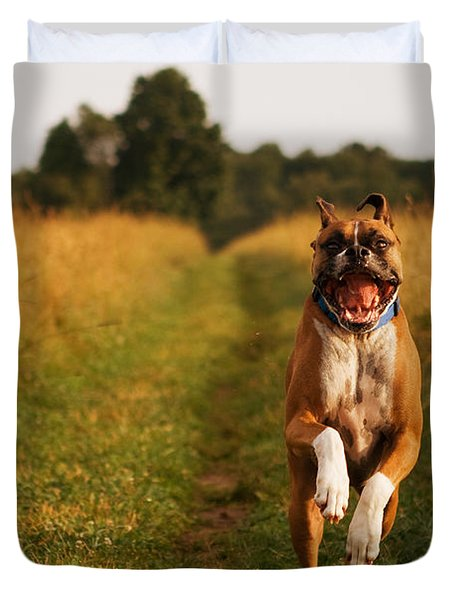 Boxer Dog Running Happily Through Field Duvet Cover by Stephanie McDowell