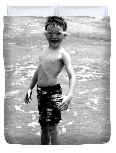 Boy at the Ocean 2 Duvet Cover by Kelly Hazel