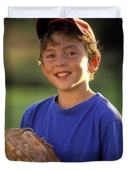 Boy With Baseball Glove Duvet Cover by John Sylvester