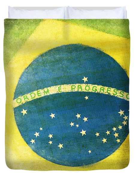 Brazil flag Duvet Cover by Setsiri Silapasuwanchai
