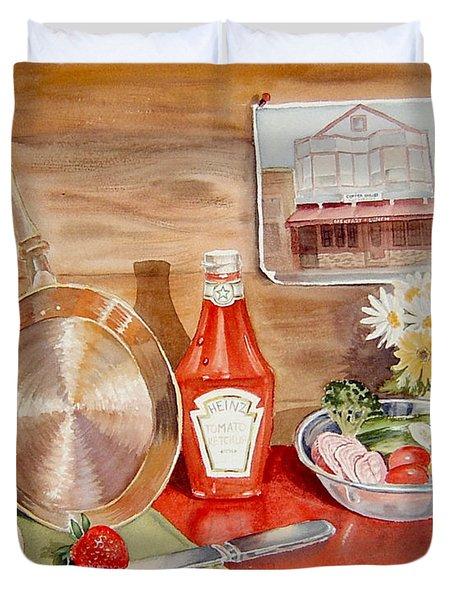 Breakfast at Copper Skillet Duvet Cover by Irina Sztukowski