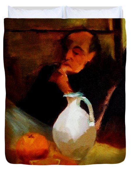 Breaktime With Oranges And Milk Jug Man Deep In Philosophical Thought With Mysterious Boy Servant Duvet Cover by M Zimmerman MendyZ