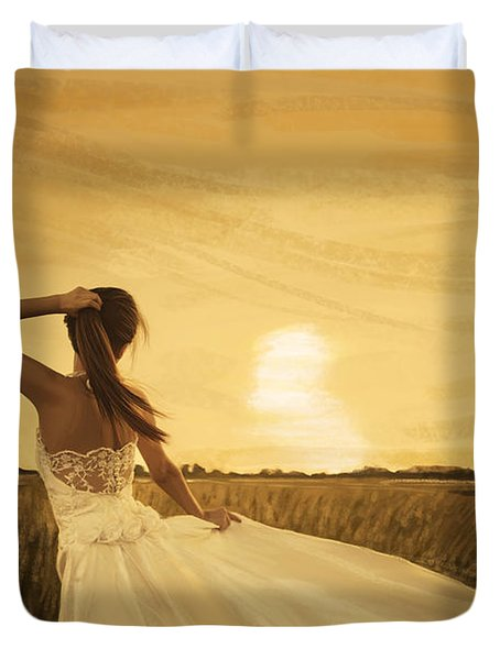 bride in yellow field on sunset  Duvet Cover by Setsiri Silapasuwanchai