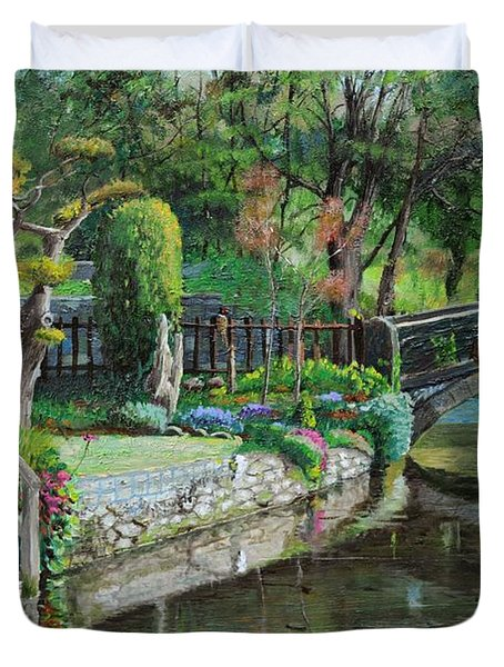 Bridge And Garden - Bakewell - Derbyshire Duvet Cover by Trevor Neal