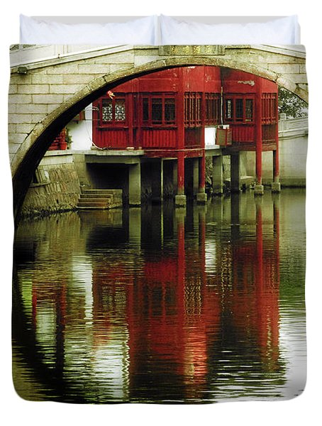 Bridge Over The Tong - Qibao Water Village China Duvet Cover by Christine Till