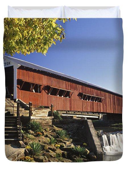 Bridgeton Covered Bridge - Fm000064 Duvet Cover by Daniel Dempster