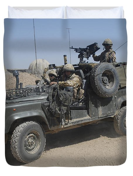 British Soldiers In Their Land Rover Duvet Cover by Andrew Chittock
