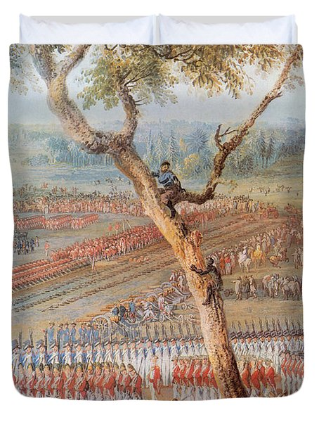 British Troops Surrender At Yorktown Duvet Cover by Photo Researchers