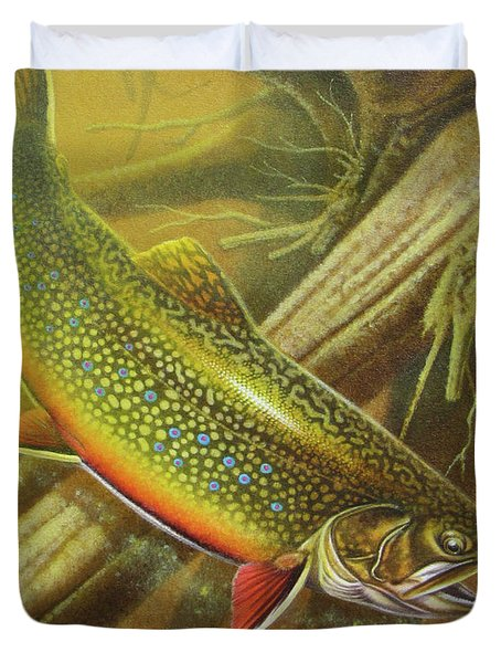 Brook Trout Cover Duvet Cover by JQ Licensing