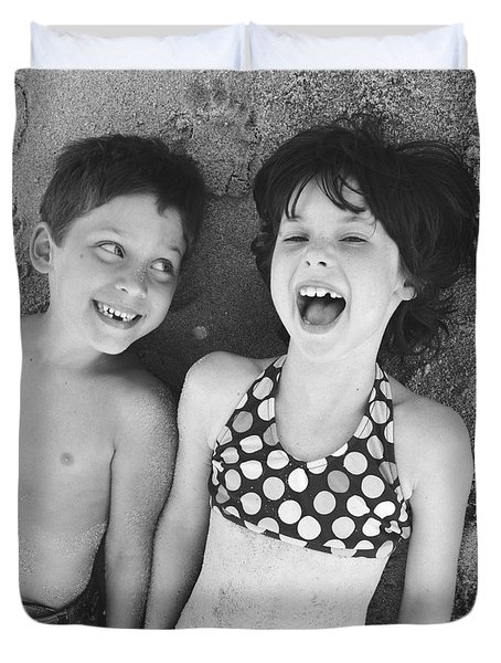 Brother And Sister On Beach Duvet Cover by Michelle Quance
