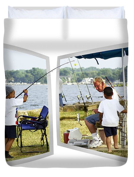Brothers Fishing - Oof Duvet Cover by Brian Wallace
