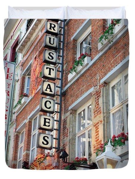 Brussels - Place Sainte Catherine Restaurants Duvet Cover by Carol Groenen