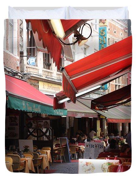 Brussels Restaurant Street - Rue De Bouchers Duvet Cover by Carol Groenen