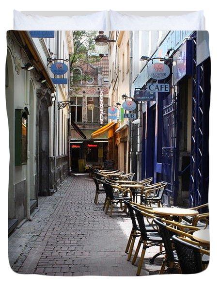 Brussels Side Street Cafe Duvet Cover by Carol Groenen