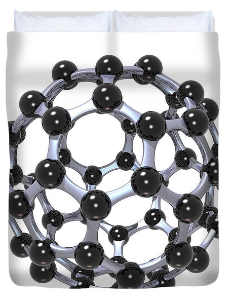 Buckminsterfullerene Or Buckyball C60 18 Duvet Cover by Russell Kightley