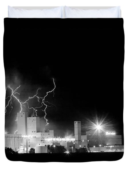 Budweiser Lightning Thunderstorm Moving Out BW Duvet Cover by James BO  Insogna
