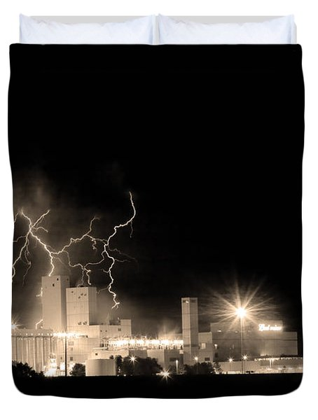 Budweiser Lightning Thunderstorm Moving Out BW Sepia Duvet Cover by James BO  Insogna
