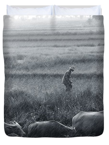 Buffalo And Monsoon Rain Duvet Cover by Anonymous