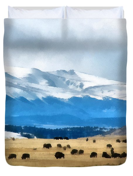 Buffalo Herd Painterly Duvet Cover by Ernie Echols