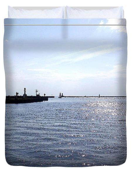 Buffalo Main Lighthouse And Buffalo Harbor Duvet Cover by Rose Santuci-Sofranko