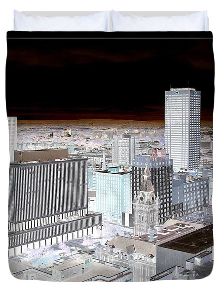 Buffalo New York Aerial View Inverted Effect Duvet Cover by Rose Santuci-Sofranko