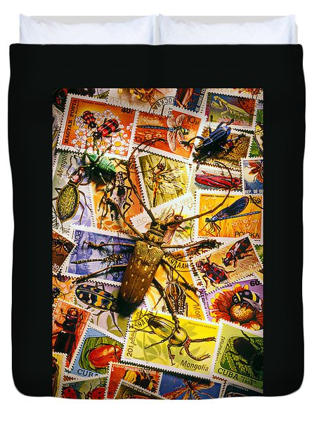 Bugs On Postage Stamps Duvet Cover by Garry Gay