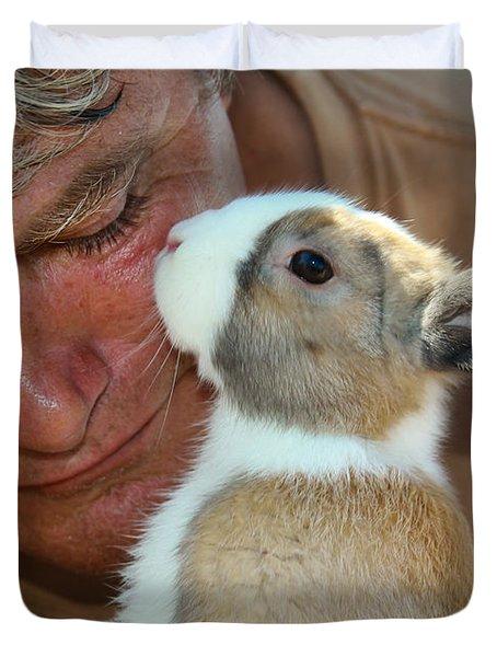 Bunny Kisses Duvet Cover by Theresa Johnson