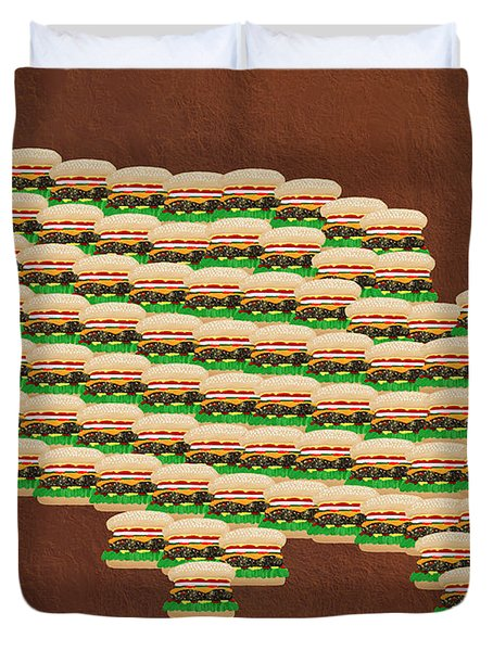Burger Town Usa Map Brown Duvet Cover by Andee Design