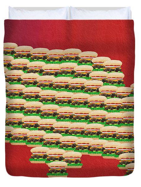 Burger Town Usa Map Red Duvet Cover by Andee Design