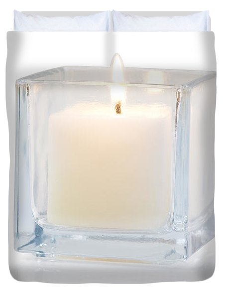 burning candle side view 20 degree Duvet Cover by ATIKETTA SANGASAENG