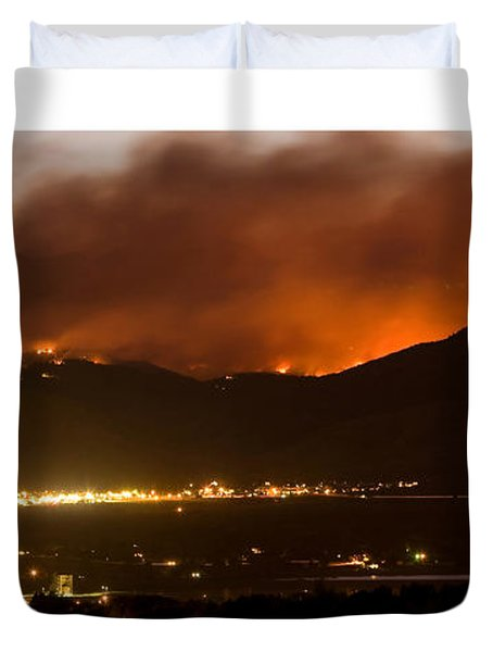 Burning Foothills Above Boulder Fourmile Wildfire Panorama Poster Duvet Cover by James BO  Insogna