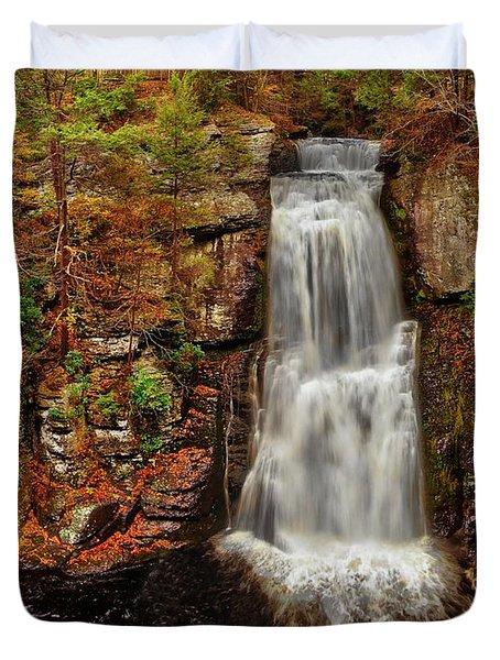 Bushkill Main Falls Duvet Cover by Nick Zelinsky