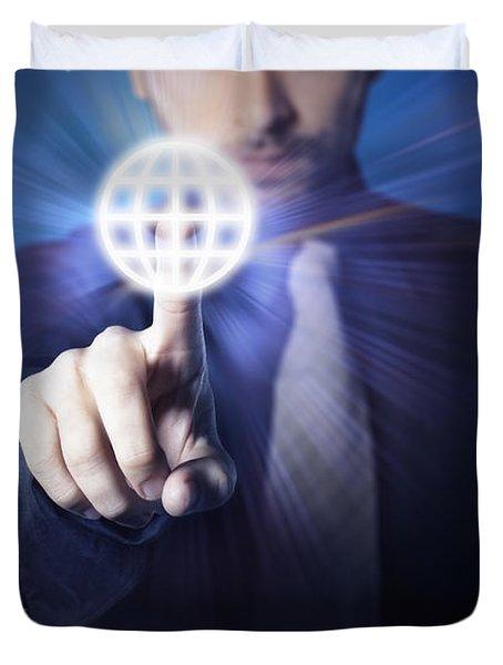 businessman pressing touch screen button Duvet Cover by Setsiri Silapasuwanchai