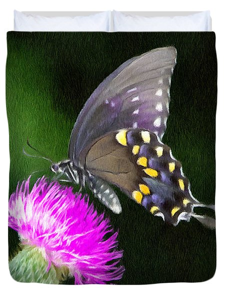 Butterfly And Thistle Duvet Cover by Jeff Kolker