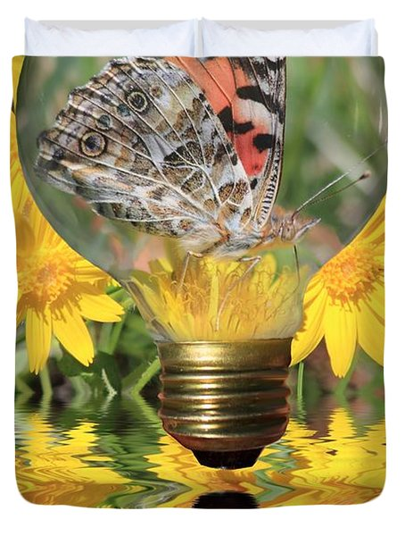 Butterfly In A Bulb II Duvet Cover by Shane Bechler