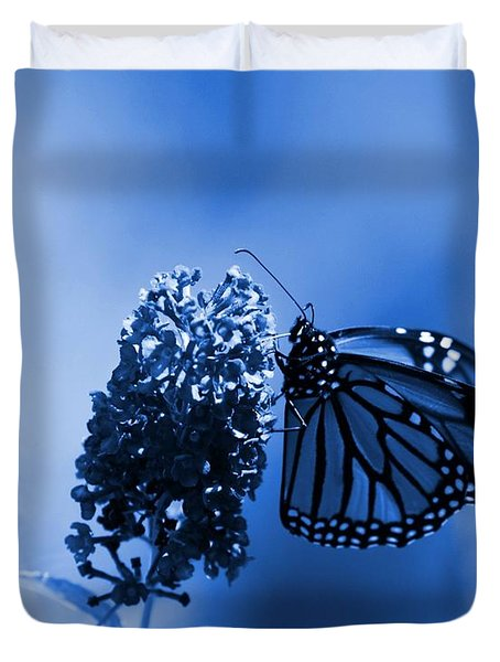 Butterfly In Blue Duvet Cover by Angie Tirado