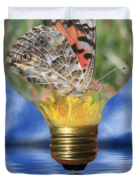 Butterfly In Lightbulb Duvet Cover by Shane Bechler