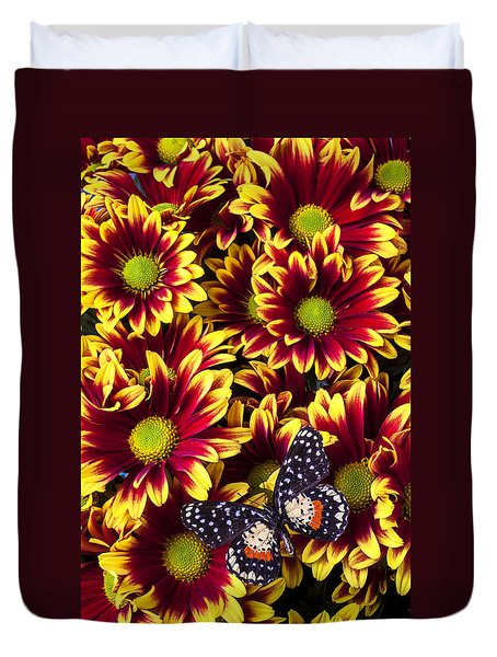 Butterfly On Yellow Red Daises  Duvet Cover by Garry Gay