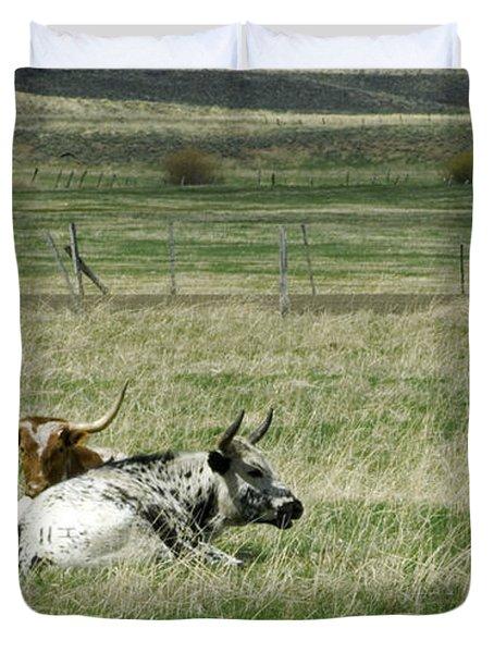 By the Horns Duvet Cover by Sara Stevenson
