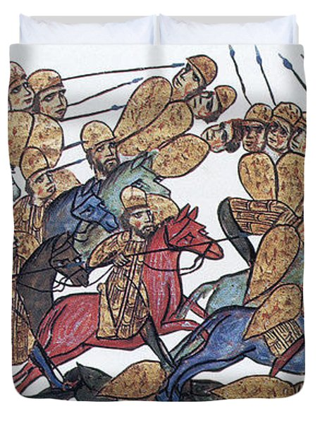 Byzantine Cavalrymen Rout Bulgarians Duvet Cover by Photo Researchers