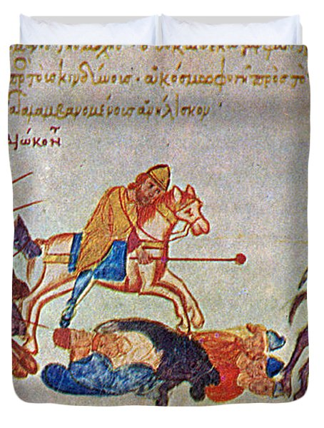 Byzantines Cavalrymen Pursuing The Rus Duvet Cover by Photo Researchers